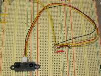 Infrared sensor on a breadboard with conditioning circuit