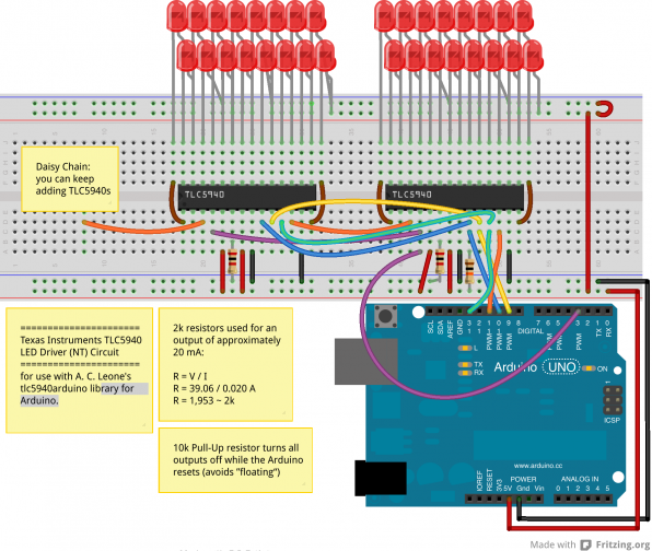Breadboard wiring of two daisy-chained TLC5940 with an array of LEDs.